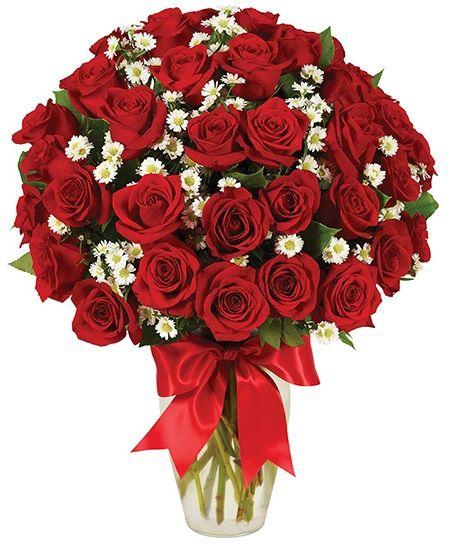 Jarrron con rosas rojas