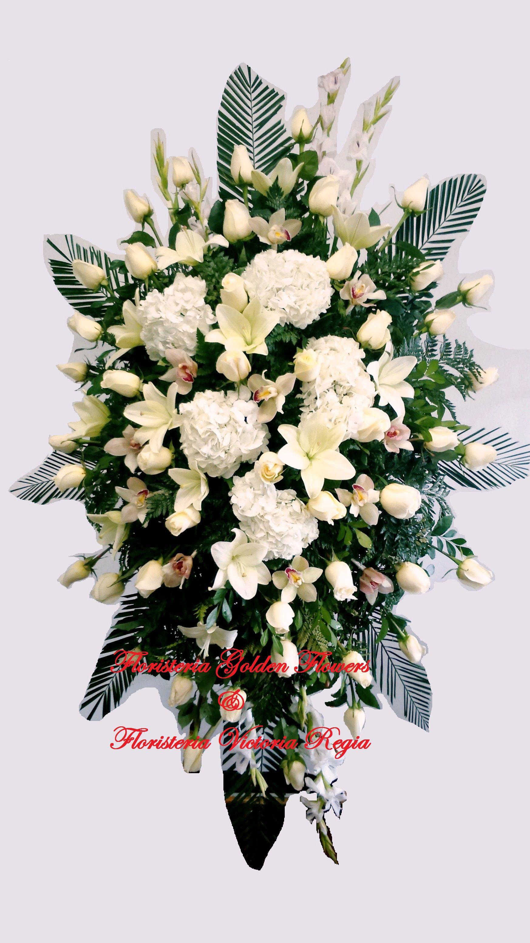Pedestal Diamante Rosas y Orquideas Cimbidyum