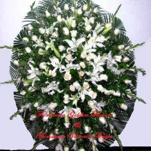 Pedestal en lirios y rosas blanco 300x300 Tienda