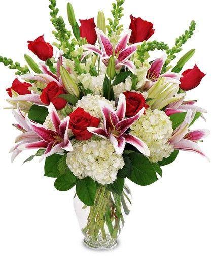 Rosas rojas con hortencias
