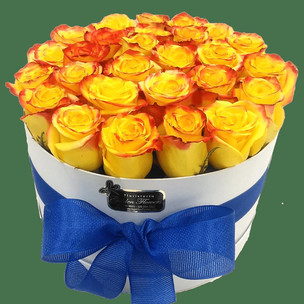Caja en rosas amarillas