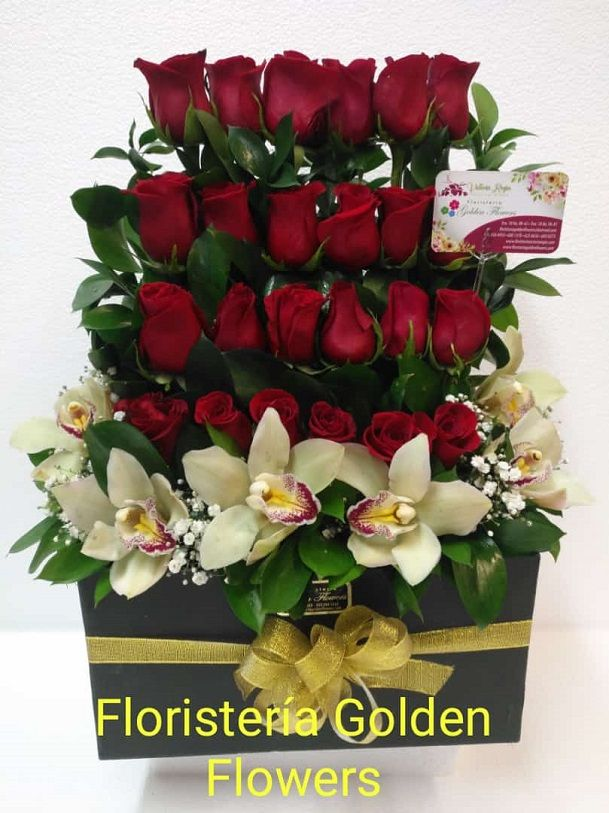 Caja Decoratica con Rosas y orquideas